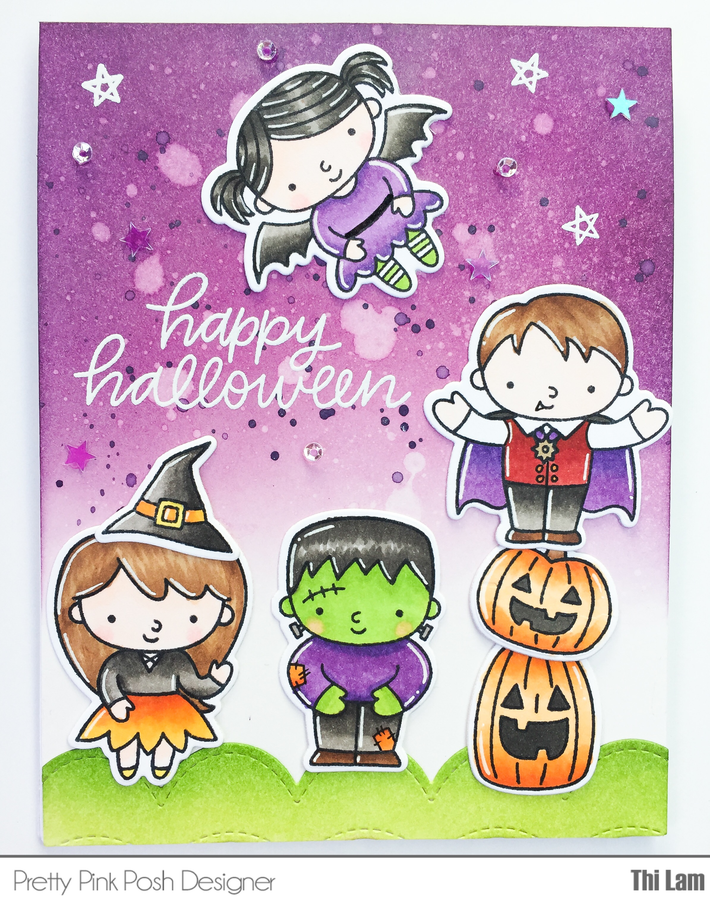 Handmade Halloween card with Pretty Pink Posh Trick or Treat Friends