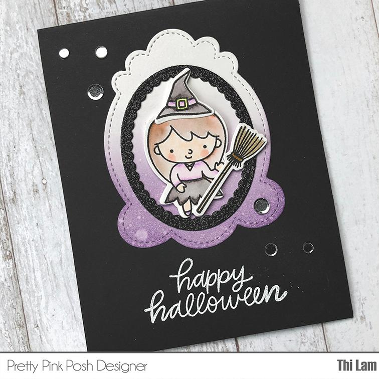 pretty pink posh trick or treat friends handmade card