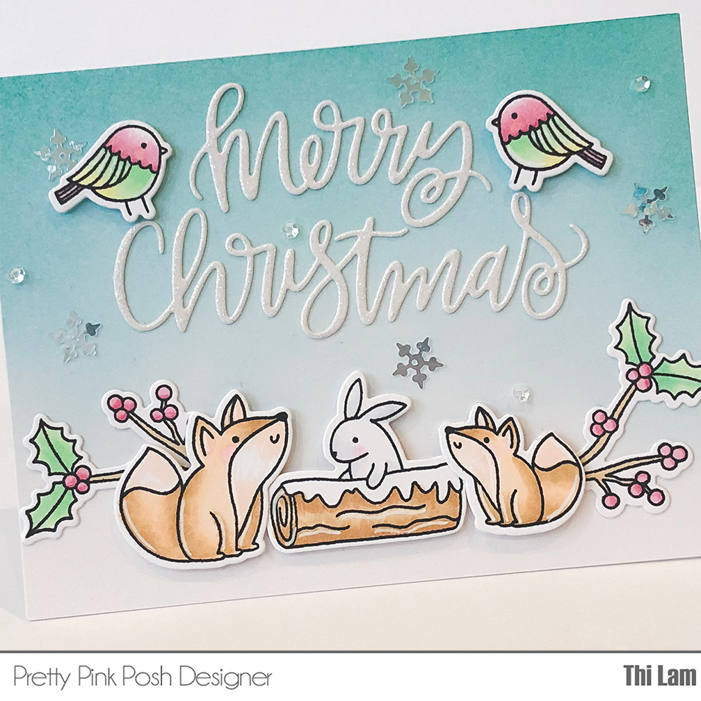 pretty pink posh winter woodland handmade card