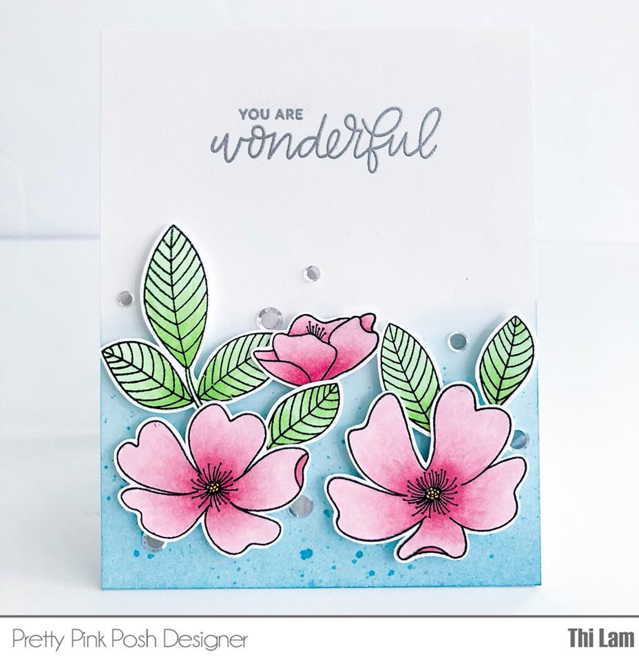 Handmade Card - Pretty Pink Posh Wild Rose