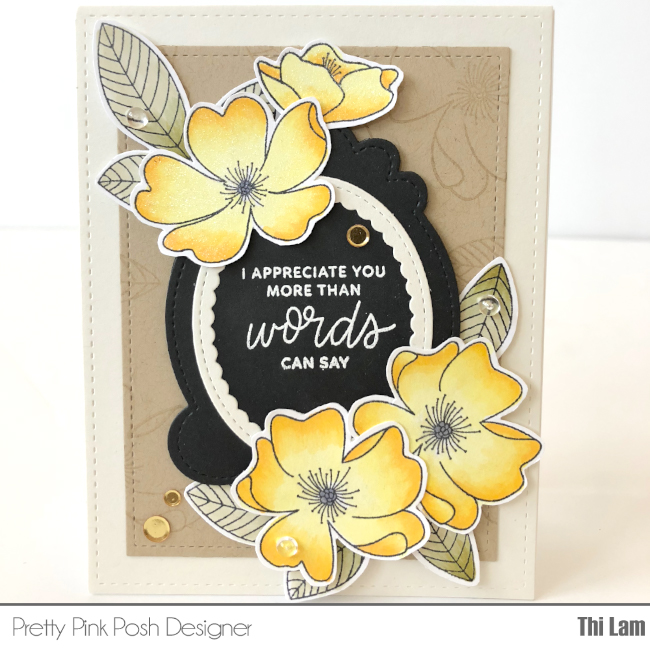 Pretty Pink Posh Wild Rose Thank You Card