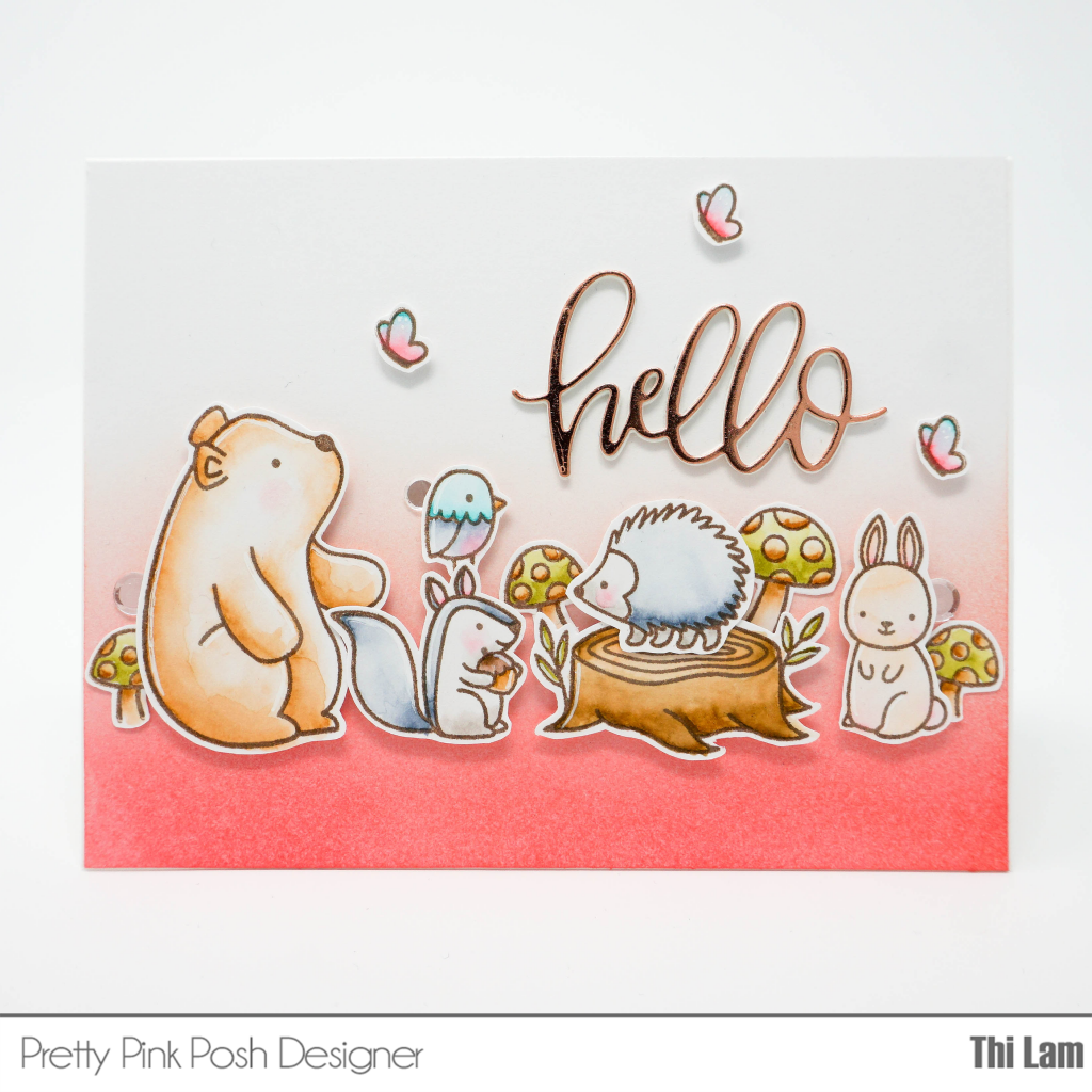 Pretty Pink Posh Woodland Critters handmade card by Lemon Tea Crafts