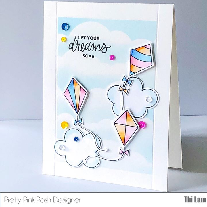 Pretty Pink Posh Fly a Kite card by Thi Lam | Lemon Tea Crafts