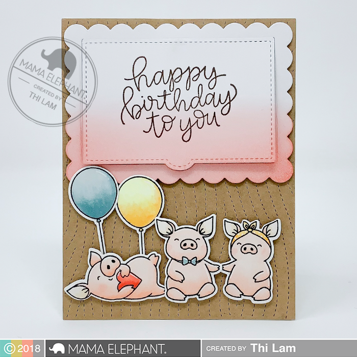 Mama Elephant Hogs and Kisses Gift Card Holder Birthday Card